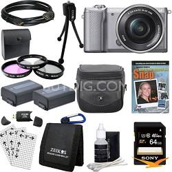 a5000 Compact Interchangeable Lens Camera Silver 16-50mm Lens Essentials Bundle