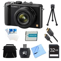 LUMIX DMC-LX7 Black Digital Camera 32GB and Battery Bundle