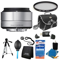 30mm F2.8 EX DN ART Silver Lens for Micro Four Thirds Filter Bundle
