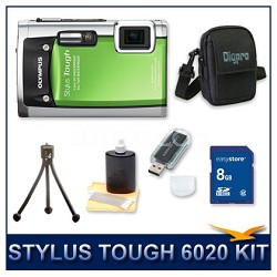 Stylus Tough 6020 Waterproof Shockproof Digital Camera (Green) w/ 8 GB Memory