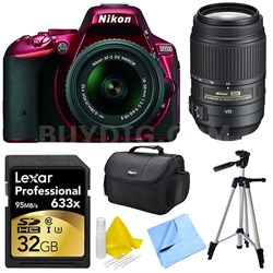 D5500 Red DSLR Camera 18-55mm Lens, 55-300 Lens, 32GB, and Cleaner Bundle