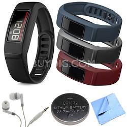 Vivofit 2 Bluetooth Fitness Band (Black)(010-01503-00)Burgundy/Slate/Navy Bundle