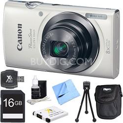 PowerShot ELPH 160 20MP 8x Opt Zoom HD Digital Camera - White 16GB Bundle