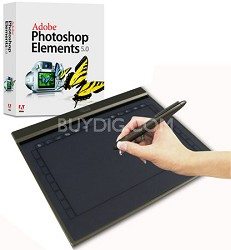 "10x6"" widescreen ultra slim USB graphicTablet w/28 program hot keys & photoshop"