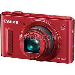 PowerShot SX610 HS 20.2 MP Digital Camera 18x Zoom 3-inch LCD with WiFi - Red