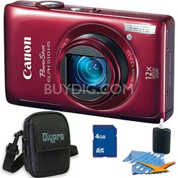 PowerShot ELPH 510 HS Red Digital Camera 4GB Bundle