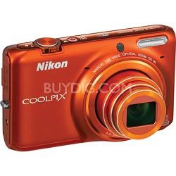 COOLPIX S6500 16MP Digital Camera w/ 12x Zoom + Wi-Fi (Orange) Refurbished