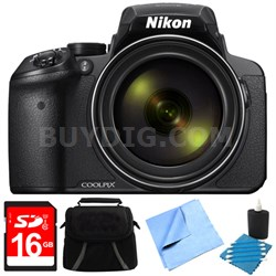 COOLPIX P900 16MP 83x Super Zoom Digital Camera Full HD Black 8GB Bundle