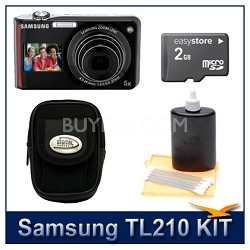 TL210 Digital Camera Red Kit w/ Memory Card, Case, Lens Cleaning Kit