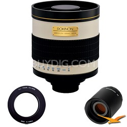 800mm F8.0 Mirror Lens for Olympus Micro 4/3 with 2x Multiplier (White) 800M
