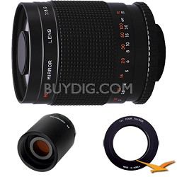 500M / 1000mm f/8.0 Mirror Lens for Olympus Micro 4/3 and 2x Multiplier