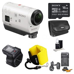 HDR-AZ1VR/W POV HD Camcorder with Live View Remote 16GB Bundle