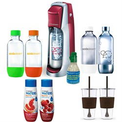 Fountain Jet Soda Maker in Red with Exclusive Kit 4 Bottles & Mini CO2
