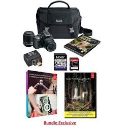 D5200 24.1MP DSLR w/ 18-55 & 55-200mm Lenses + WU-1a WiFi Adapter Bundle (Black)