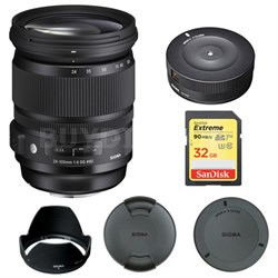24-105mm F/4 DG OS HSM Lens for Nikon 635-306 with USB Dock Bundle
