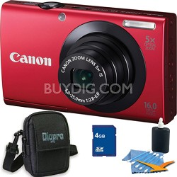 PowerShot A3400 IS 16MP Red Digital Camera 4GB Bundle