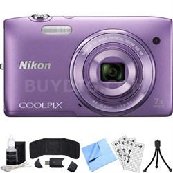 COOLPIX S3500 20.1MP Digital Camera w/ 720p HD Video (Purple) Refurbished Bundle