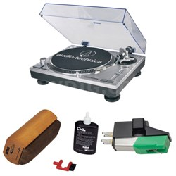 Professional Stereo Turntable w/ USB LP to DIG - Silver w/ Record Cleaning Kit