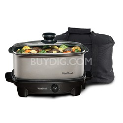 84915 5-Quart Oblong-Shaped Slow Cooker with Tote