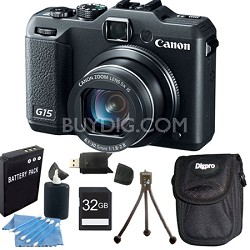 Powershot G15 12 MP High-Performance Digital Camera 32GB Bundle