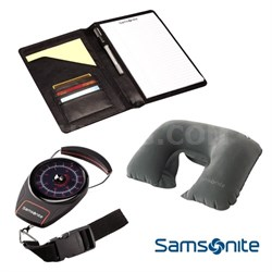 Deluxe Travel Kit with Portable Luggage Scale, Neck Pillow, PadFolio Organizer