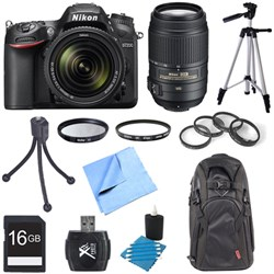 D7200 DX-format Black Digital SLR Camera w/ 18-140mm and 55-300mm VR Lens Bundle