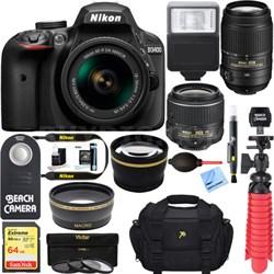 D3400 DSLR Camera w/ AF-P DX 18-55mm & 55-200mm VR Lens Accessory Bundle