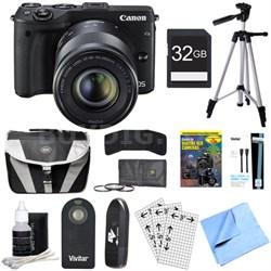EOS M3 24.2MP Black Mirrorless Camera w/ EF-M 18-55 + 55-200mm Lens 32GB Bundle