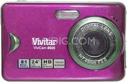 "Vivicam V8025 8.1MP 2.4"" Touchscreen, 8x Zoom Digital Camera (Pink)"