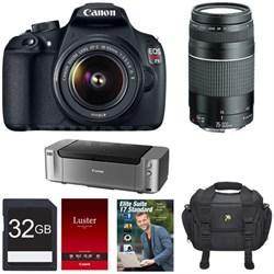 EOS Rebel T5 w/ 18-55 & 75-300 Lenses / Pro 100 / PC Suite Office Bundle