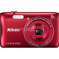 COOLPIX S3700 20.1MP 720p HD Video Digital Camera - Red