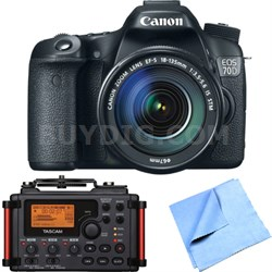 EOS 70D 20.2 MP CMOS DSLR Camera w/ EF-S 18-135mm IS STM Lens Recorder Bundle
