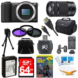 a5100 24.3MP HD 1080p Mirrorless Camera Body Black 64GB Deluxe Bundle