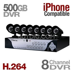8 Channel H.264 DVR (Internet Ready, 8 Night Vision Cams, 500GB HDD Mobile Ready