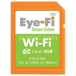 4GB Share Video Wi-Fi Wireless SDHC Memory Card