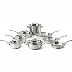 13-pc. Contemporary Stainless Dishwasher Safe Cookware Set - LR13A
