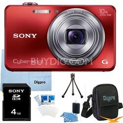 Cyber-shot DSC-WX150 18.2 MP 10x Optical HD Video Camera (Red) 4GB Bundle