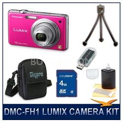DMC-FH1P LUMIX 12.1 MP Digital Camera (Pink), 4G SD Card, Card Reader & Case