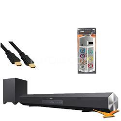 HTCT260 Surround Sound Speaker Bar and Wireless Subwoofer Hookup Kit