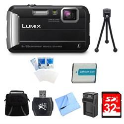 LUMIX DMC-TS30 Active Tough Black Digital Camera 32GB Bundle