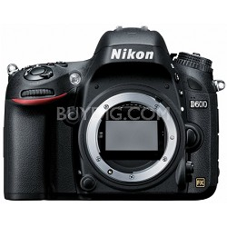 D600 24.3 Megapixel Full Frame DSLR Camera Body