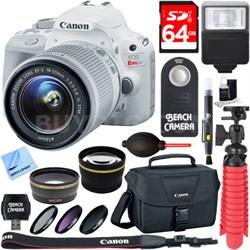 EOS Rebel SL1 DSLR Camera w/ EF-S 18-55mm IS STM Lens Memory & Flash Kit (White)
