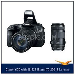 EOS 60D 18 MP SLR Digital Camera w/ 18-135 Lens w/ Canon 70-300 IS USM Lens