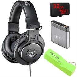 ATH-M30x Professional Headphones w/ Powerbank, 32gb Micro SD & Amp Bundle