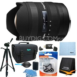 8-16mm f/4.5-5.6 DC HSM FLD AF Zoom Lens for Nikon DSLR Camera Lens Kit Bundle