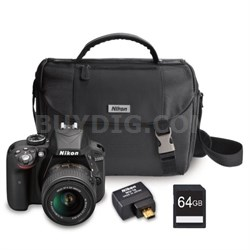 D3300 24.2MP DSLR Camera w/ 18-55 VR II Lens + Case + WiFi Adapter & 64GB Card