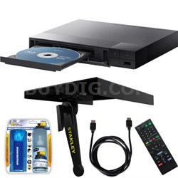 BDP-S3700 Wi-Fi Streaming Blu-ray Disc Player w/ Media Shelf + Accessory Bundle