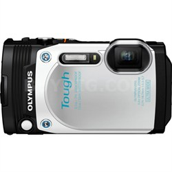 """TG-870 Tough Waterproof 16MP White Digital Camera with AF Lock and 3"""" LCD"""