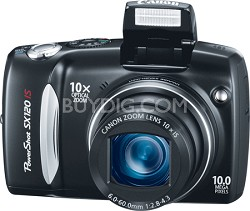 Powershot SX120 IS 10MP Digital Camera (Black) - REFURBISHED