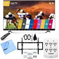 60UF8500 - 60-Inch 2160p 240Hz 3D 4K LED UHD WebOS TV Tilt Mount/Hook-Up Bundle